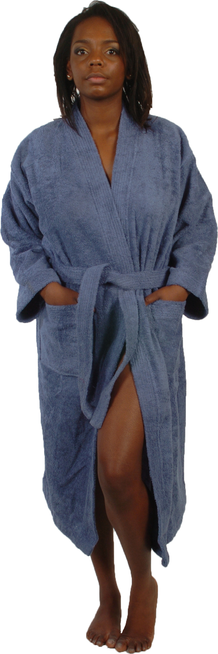 Peignoir col kimono en Coton couleur Bleu jean Taille S (Bleu Jean)