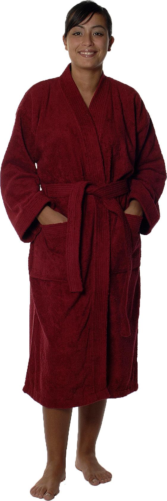 Peignoir col kimono en Coton couleur Bordeaux Taille XL (Bordeaux)