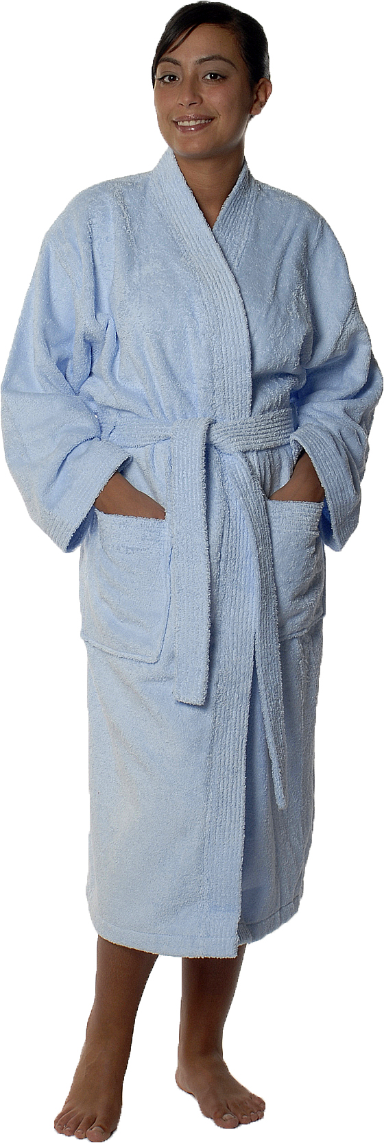 Peignoir col kimono en Coton couleur Ciel Taille L (Ciel)