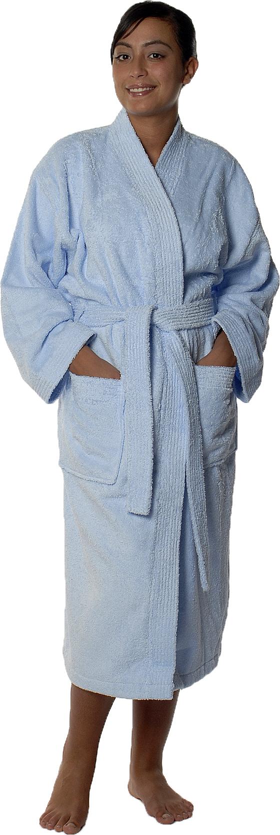 Peignoir col kimono en Coton couleur Ciel Taille M (Ciel)
