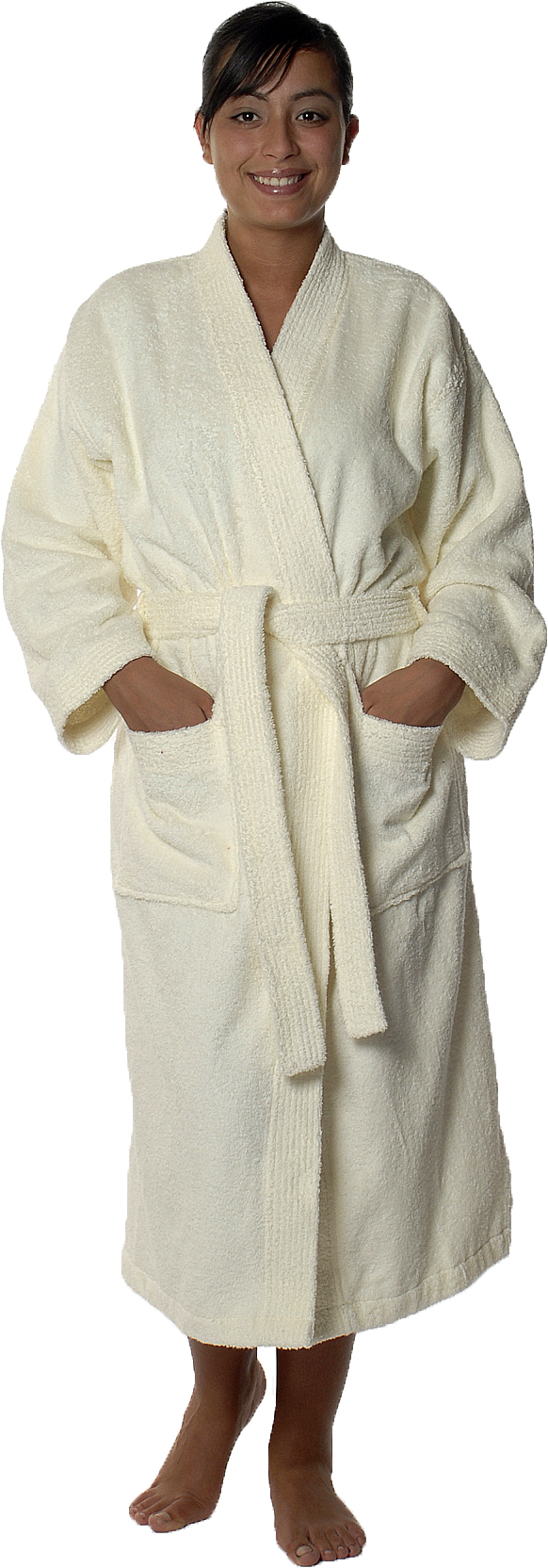 Peignoir col kimono en Coton couleur Ecru Taille L (Ecru)