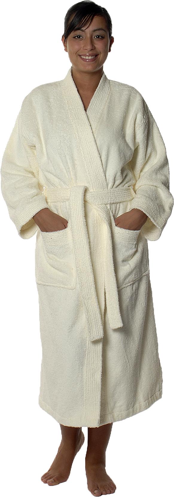 Peignoir col kimono en Coton couleur Ecru Taille M (Ecru)