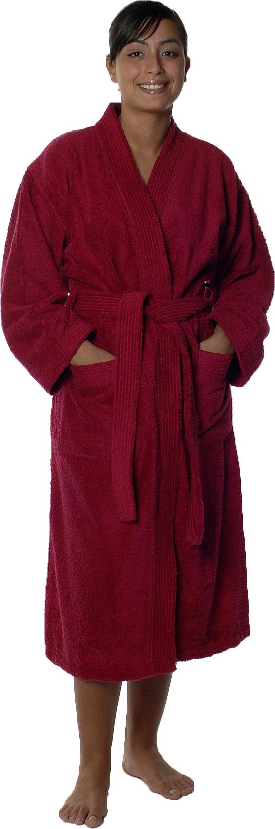 Peignoir col kimono en Coton couleur Fushia Taille L (FUSHIA)