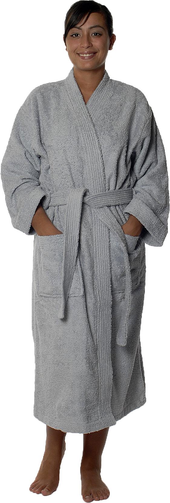 Peignoir col kimono en Coton couleur Gris perle Taille XXL (Gris Perle)
