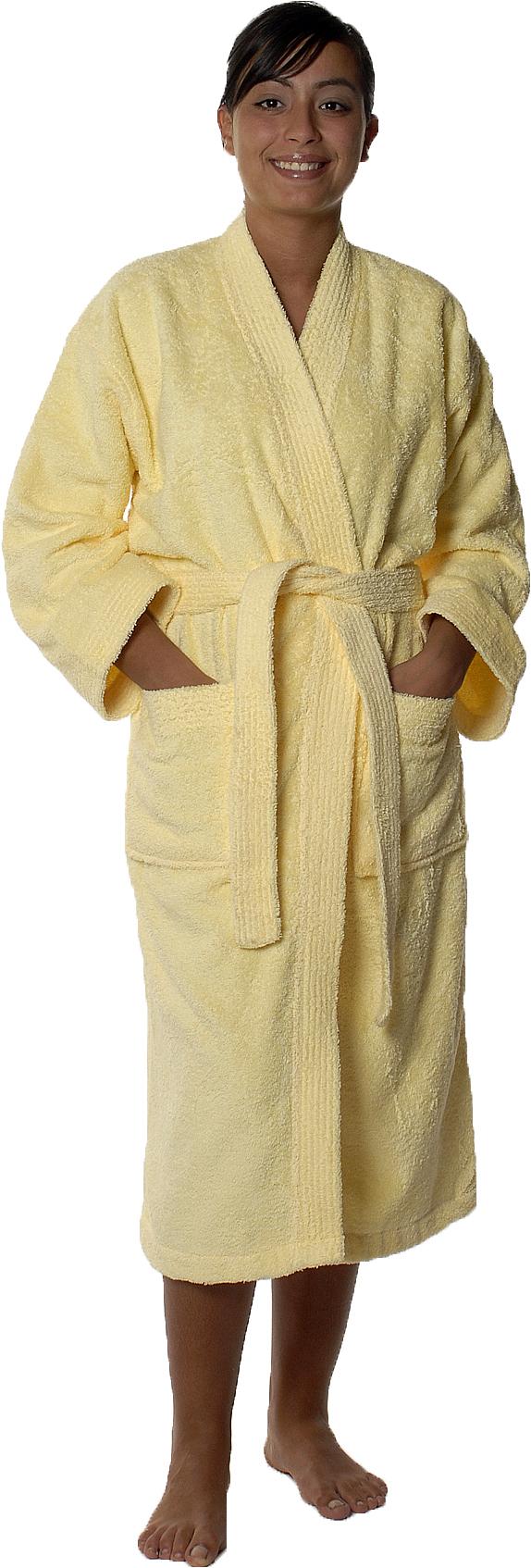 Peignoir col kimono en Coton couleur Jaune Taille L (Jaune)