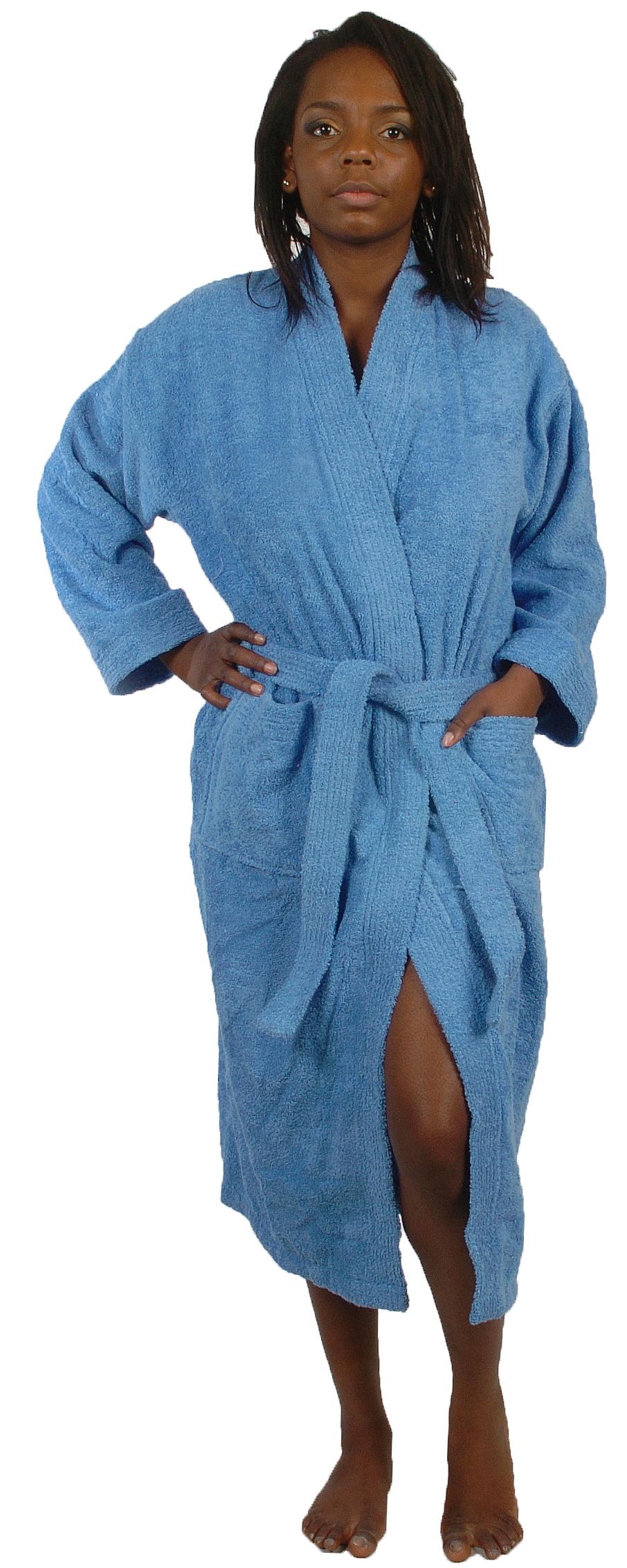 Peignoir col kimono en Coton couleur Lavande Taille M (Lavande)
