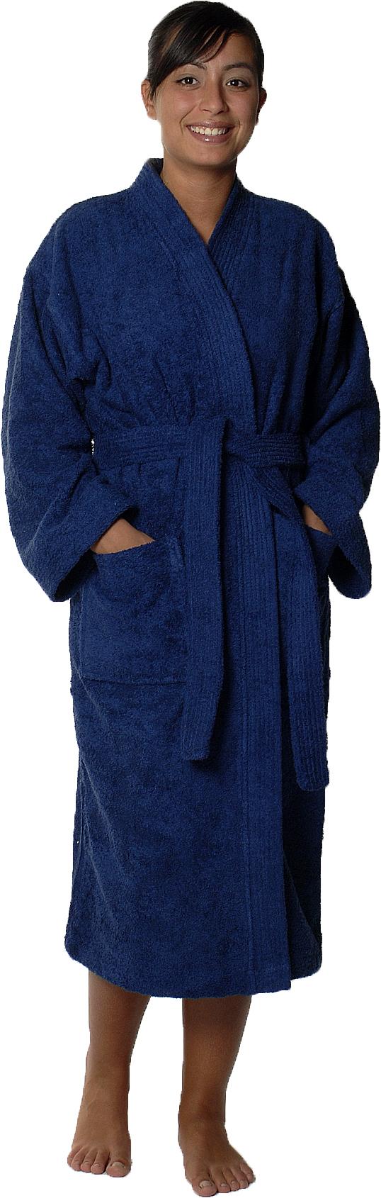 Peignoir col kimono en Coton couleur Marine Taille L (Marine)
