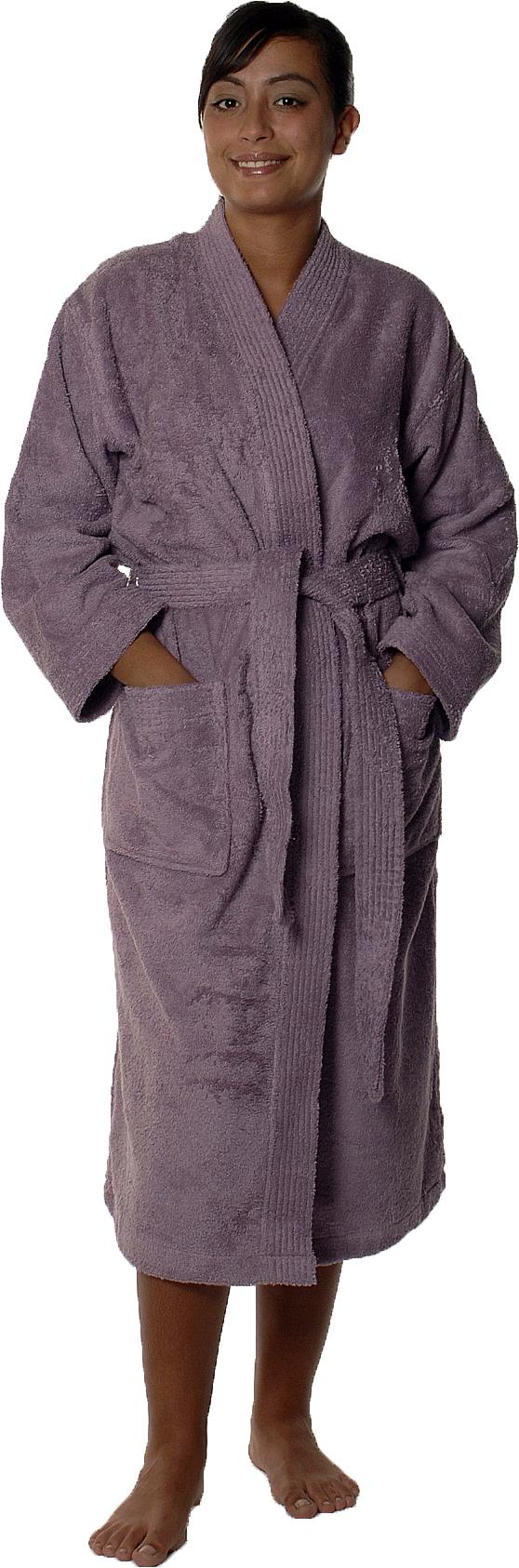Peignoir col kimono en Coton couleur Mûre Taille XL (Mûre)