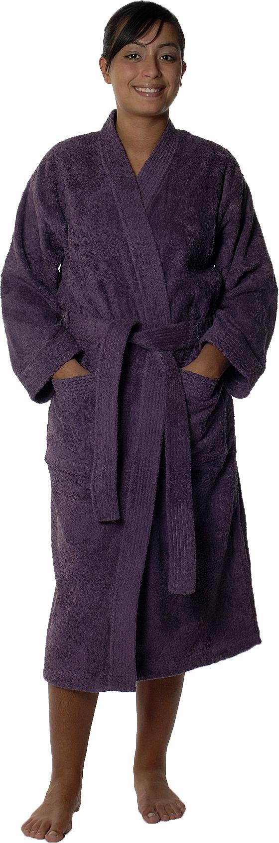 Peignoir col kimono en Coton couleur Myrtille Taille L (Myrtille)