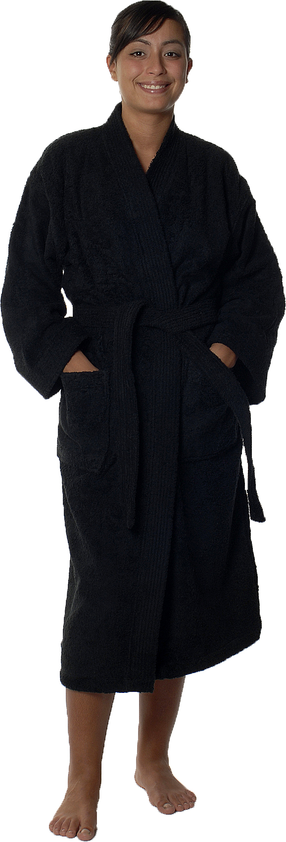 Peignoir col kimono en Coton couleur Noir Taille XL (Noir)