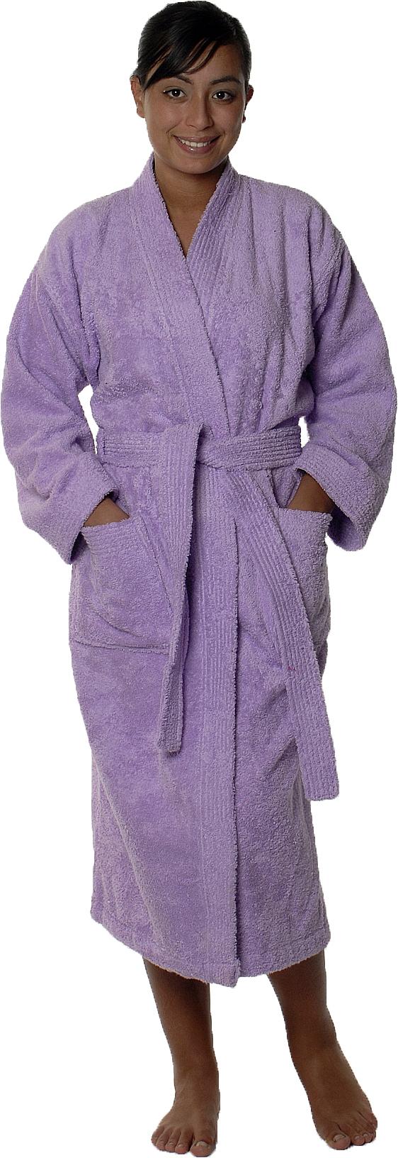 Peignoir col kimono en Coton couleur Parme Taille S (Parme)