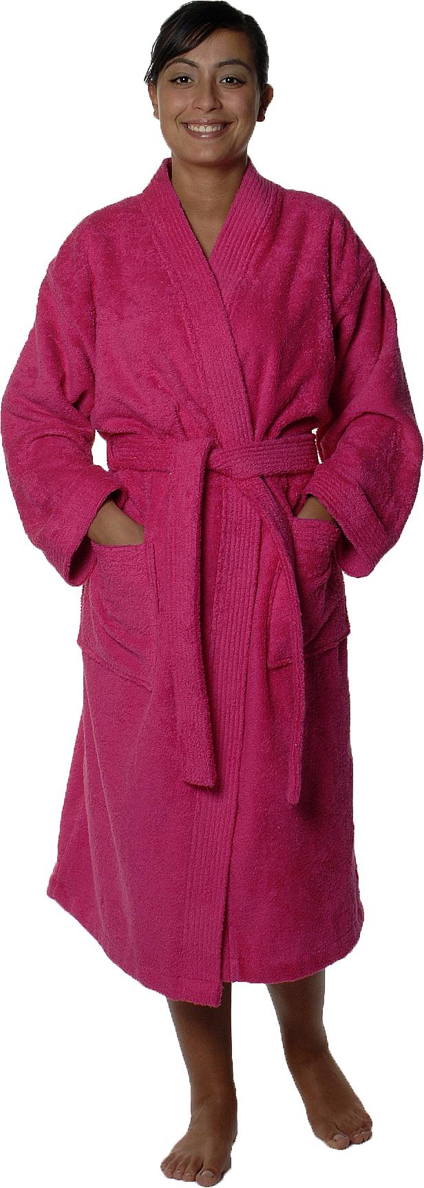 Peignoir col kimono en Coton couleur Rose indien Taille L (Rose Indien)