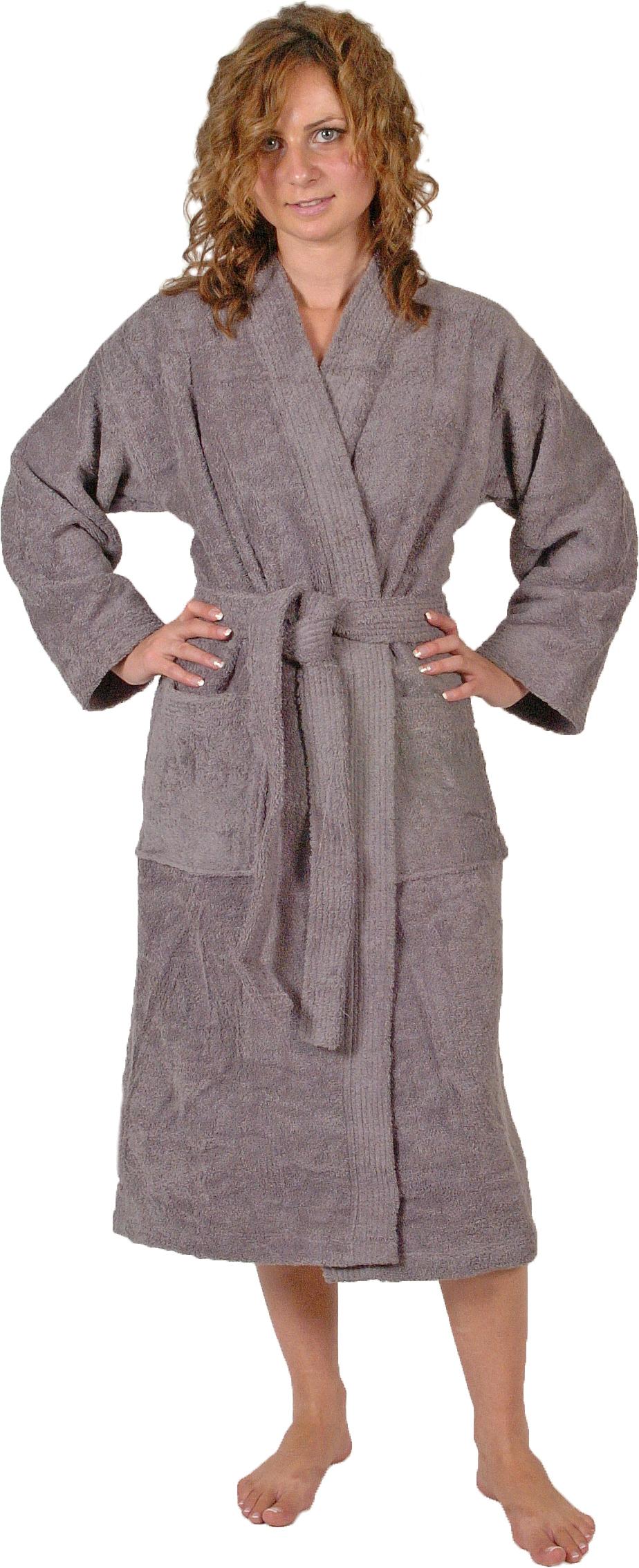Peignoir col kimono en Coton couleur Silver grey Taille XL (Silver Grey)