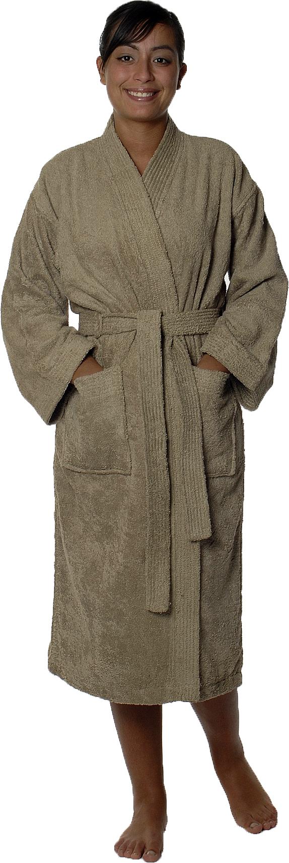 Peignoir col kimono en Coton couleur Taupe Taille S (Taupe)