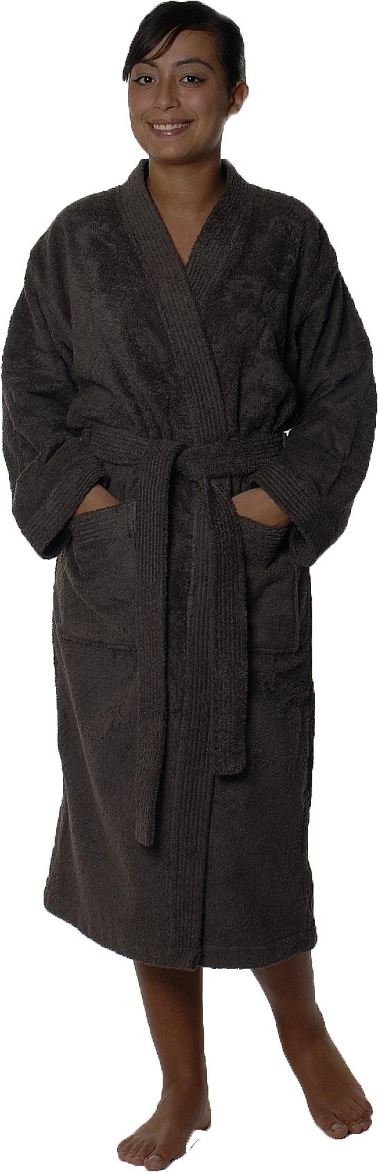 Peignoir col kimono en Coton couleur Vison Taille S (VISON)