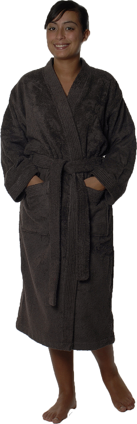 Peignoir col kimono en Coton couleur Vison Taille S