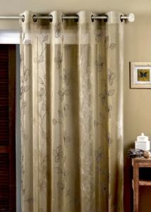 voilage en etamine brod e fleurs lin blanc homemaison vente en ligne voilages. Black Bedroom Furniture Sets. Home Design Ideas