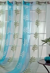 Voilage en organza et jacquard (Turquoise)