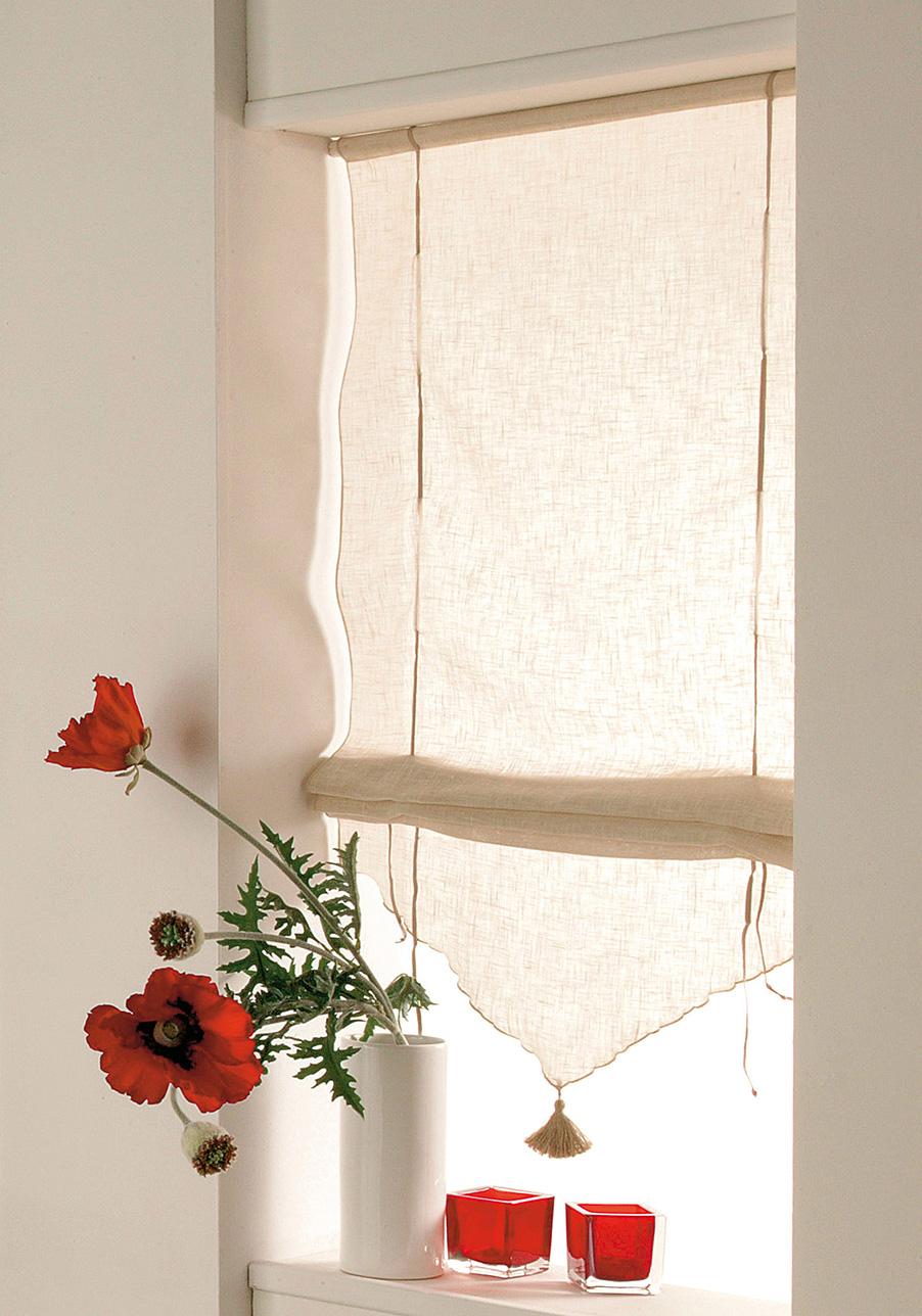 store relevable beige avec pompon beige homemaison vente en ligne stores voilage. Black Bedroom Furniture Sets. Home Design Ideas
