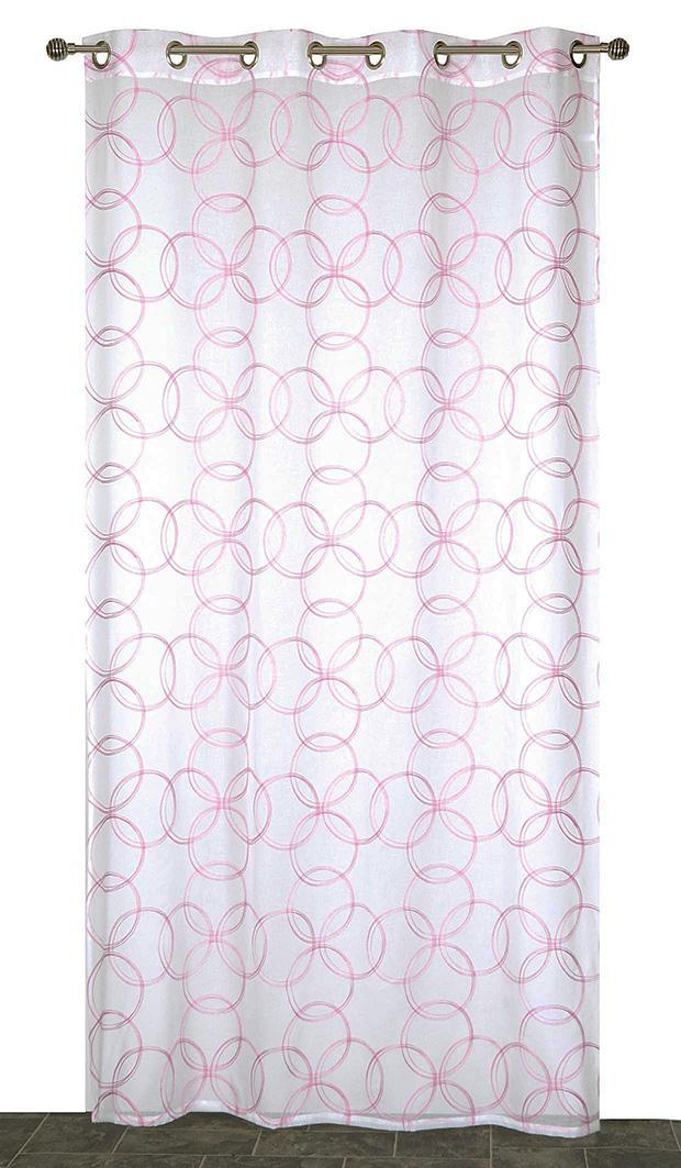Voilage en Etamine Brodée Cercles - Rose - 140 x 240 cm