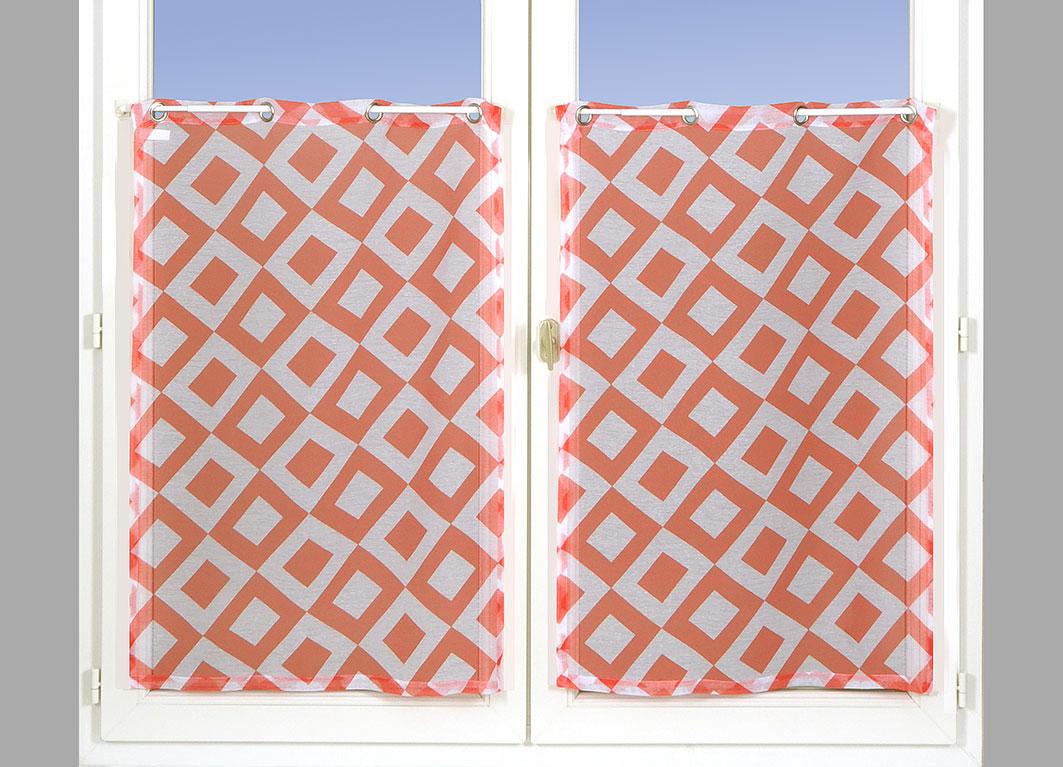 Paire de Vitrages à Motifs Losanges - Rouge - 60 x 90 cm