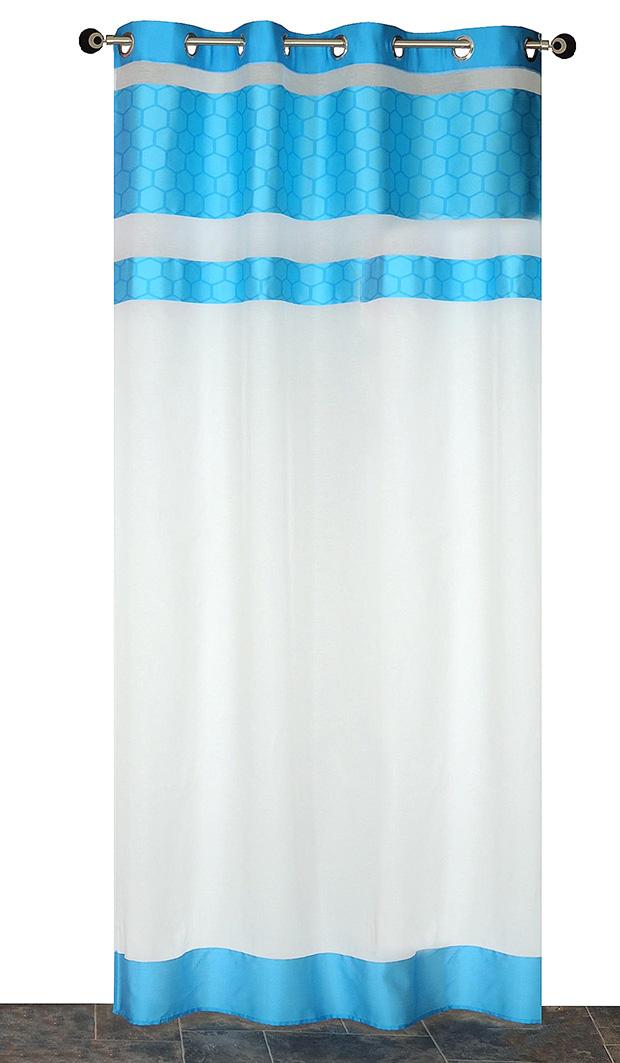 Voilage à Bandes Jacquard - Bleu - 140 x 240 cm
