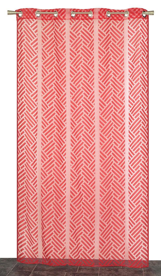 Voilage à Motifs en Organza Flocké (Rouge)