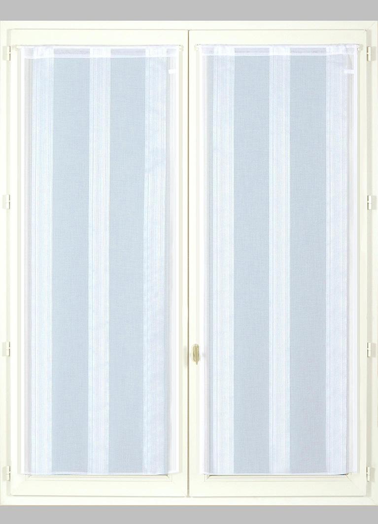 Paire de Vitrages en Etamine Fines Rayures (Blanc)