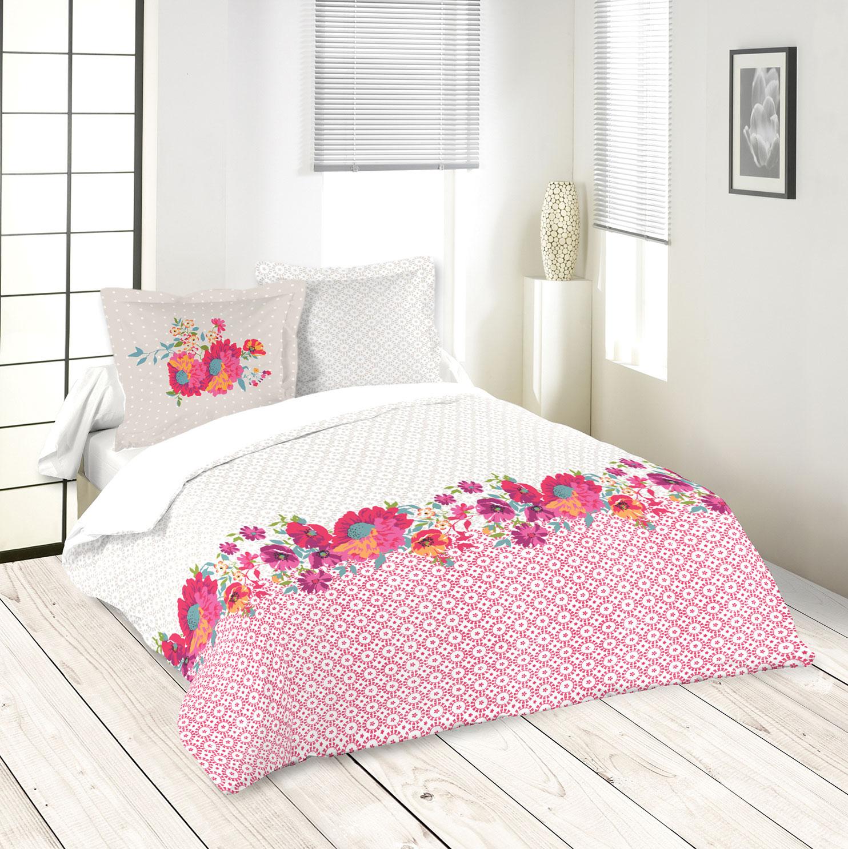 parure de couette imprim e guirlande florale fuchsia homemaison vente en ligne parures. Black Bedroom Furniture Sets. Home Design Ideas