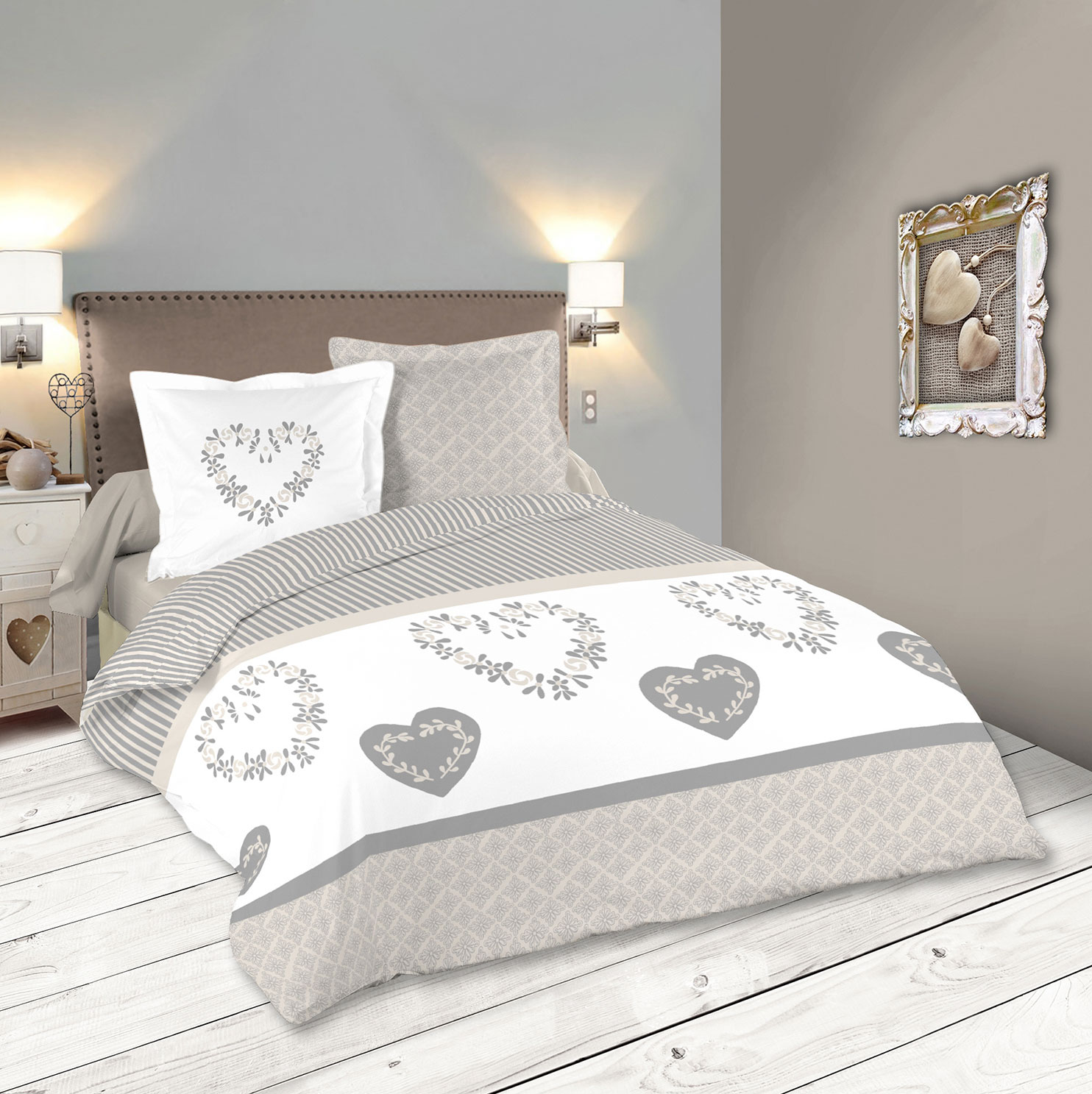 parure de couette chalet chic gris homemaison. Black Bedroom Furniture Sets. Home Design Ideas