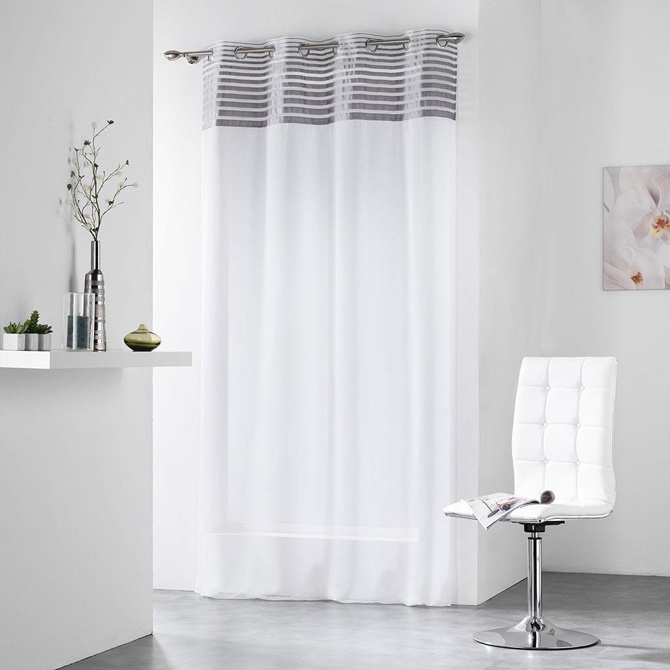 voilage parement ray et color gris jaune homemaison vente en ligne voilages. Black Bedroom Furniture Sets. Home Design Ideas