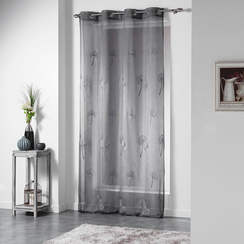 voilage brod sur fond sabl anthracite blanc gris noisette homemaison vente en. Black Bedroom Furniture Sets. Home Design Ideas