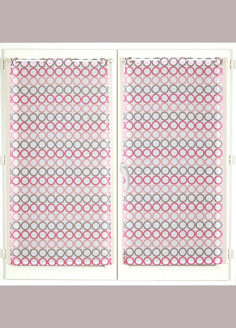 Paire de Vitrages Rayures de Cercles Colorés - Fuchsia - 60 x 90 cm