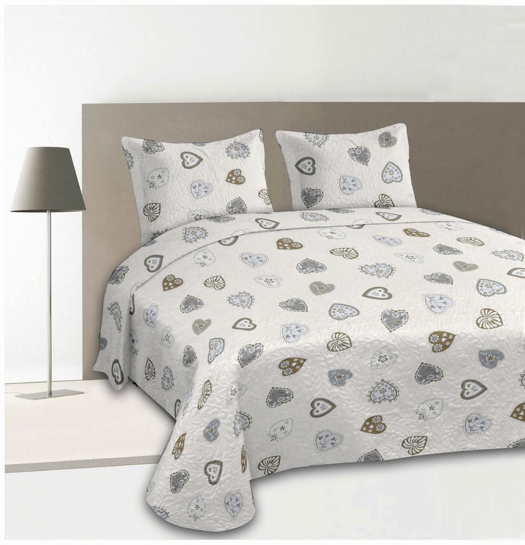 boutis imprim coeurs et 2 taies assorties ecru homemaison vente en ligne couverture. Black Bedroom Furniture Sets. Home Design Ideas