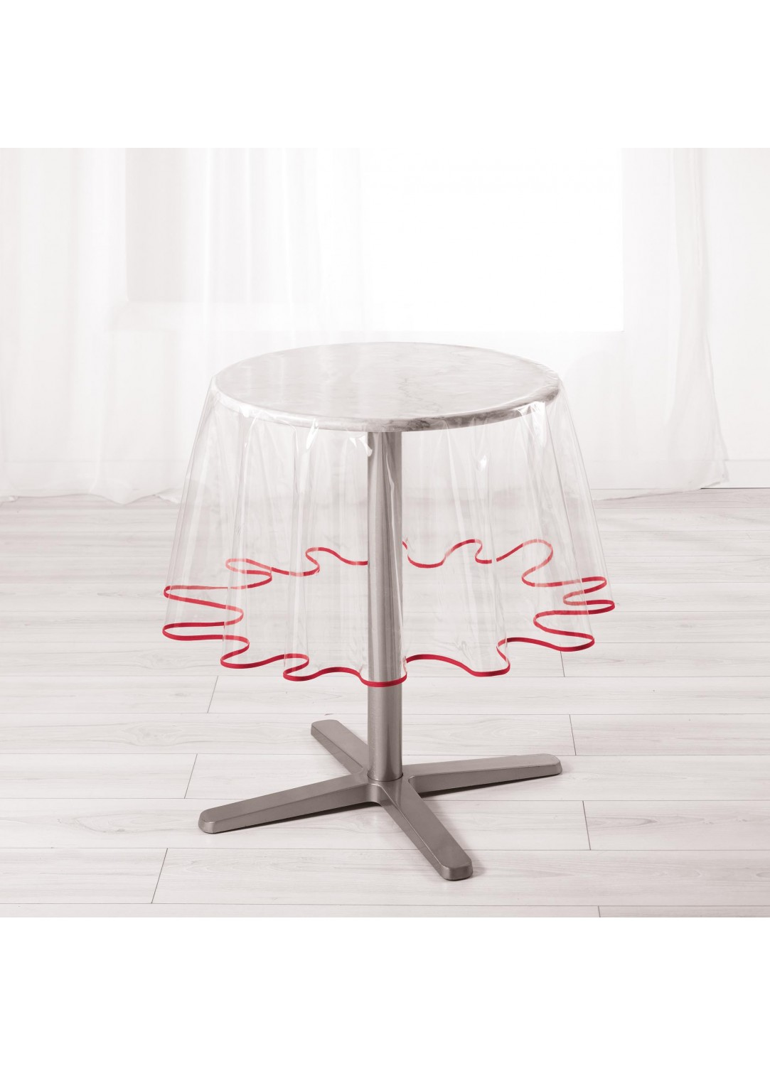 nappe ronde pvc transparent avec biais color rouge. Black Bedroom Furniture Sets. Home Design Ideas