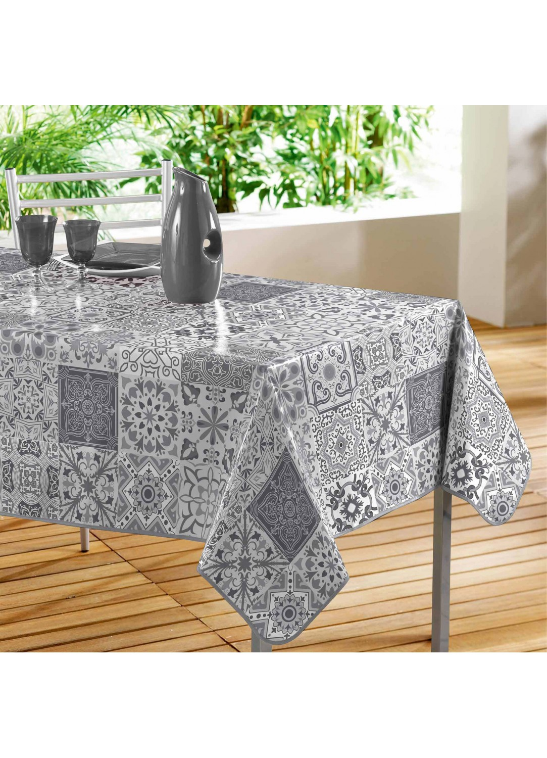 Nappe rectangulaire en pvc impression carreaux de ciment gris homemaison vente en ligne - Nappe carreaux de ciment ...