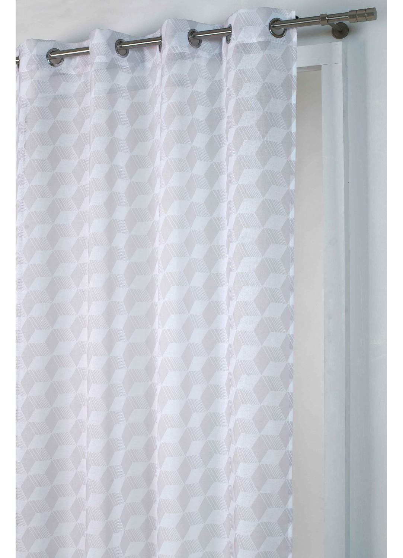 voilage imprim cubes beige gris homemaison. Black Bedroom Furniture Sets. Home Design Ideas
