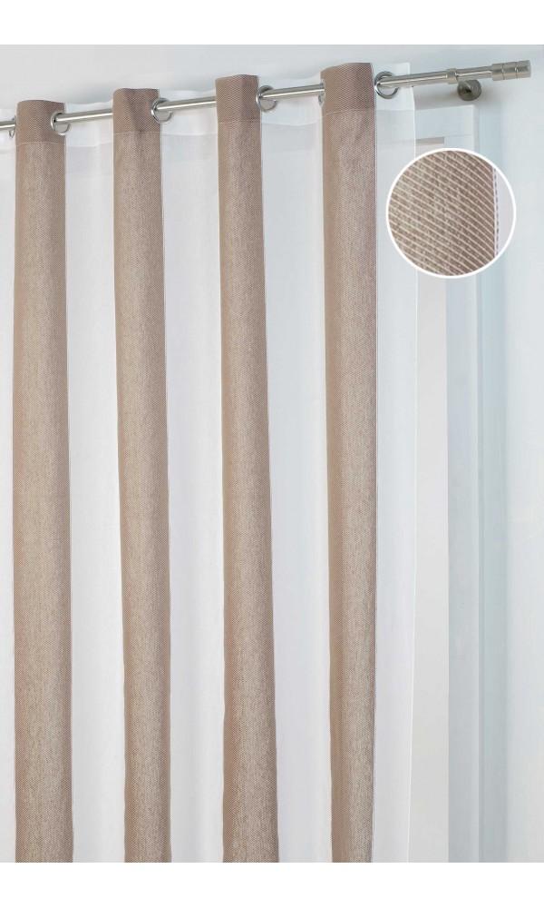 Rideau à Larges Rayures motif Chevron - Beige - 140 x 260 cm