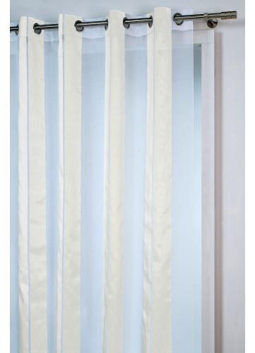 Voilage à Rayures Armurées - Beige - 140 x 260 cm