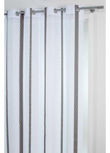 Voilage Fantaisie Uni avec bandes Jacquard - Noir - 140 x 260 cm