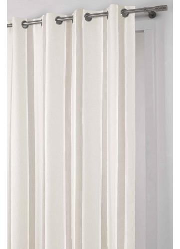 Voilage à Rayures Chevrons - Beige - 140 x 260 cm
