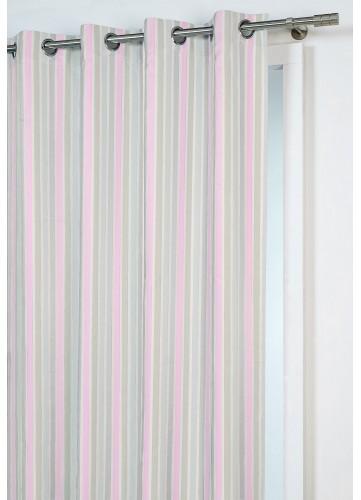 Rideau à Fines Rayures Printanières - Rose - 140 x 260 cm