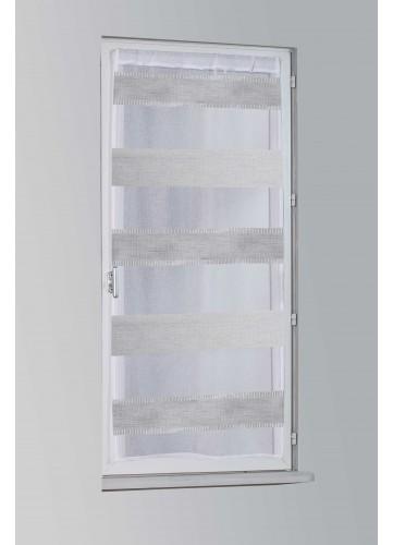 Store Droit à Rayures Aspect Lin - Gris - 80 x 200 cm