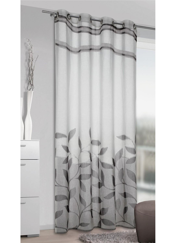 voilage imprim feuillages gris homemaison vente. Black Bedroom Furniture Sets. Home Design Ideas
