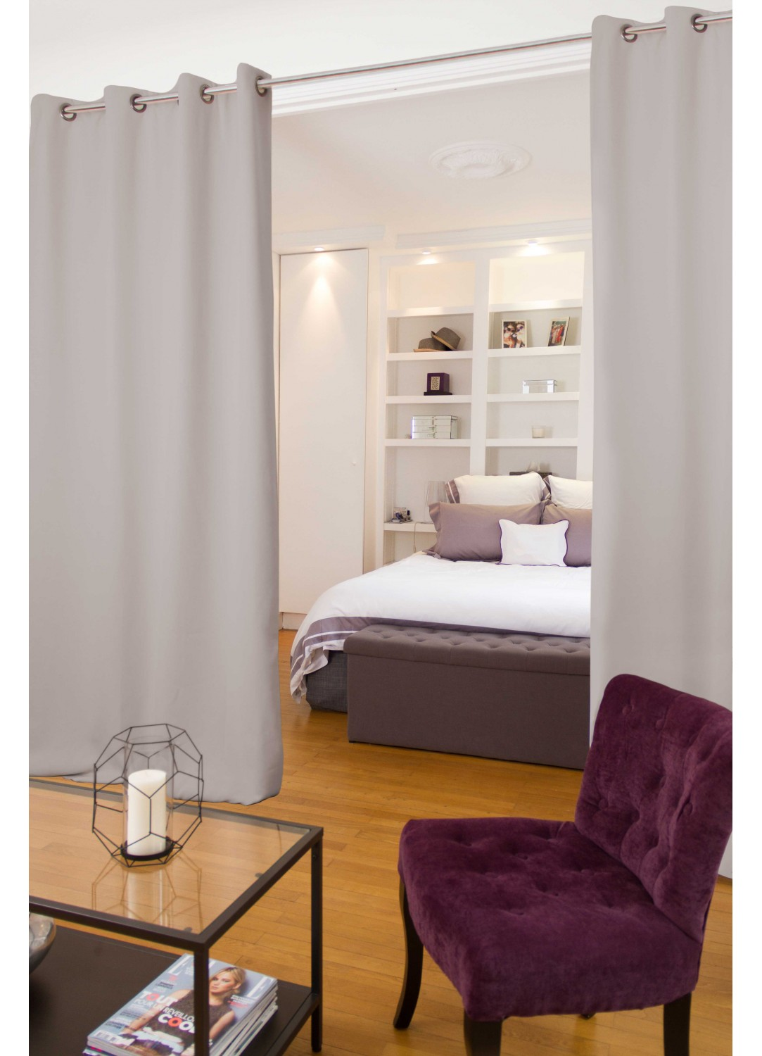rideau s parateur de pi ce moondream galet grenat m tal blanc coquille. Black Bedroom Furniture Sets. Home Design Ideas