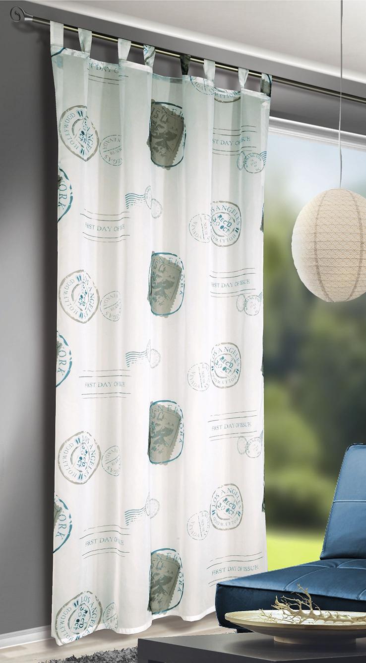 voilage imprim tampons de cartes postales turquoise. Black Bedroom Furniture Sets. Home Design Ideas
