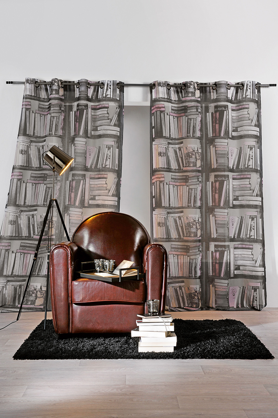 rideau en trompe l oeil biblioth que gris homemaison vente en ligne rideaux. Black Bedroom Furniture Sets. Home Design Ideas