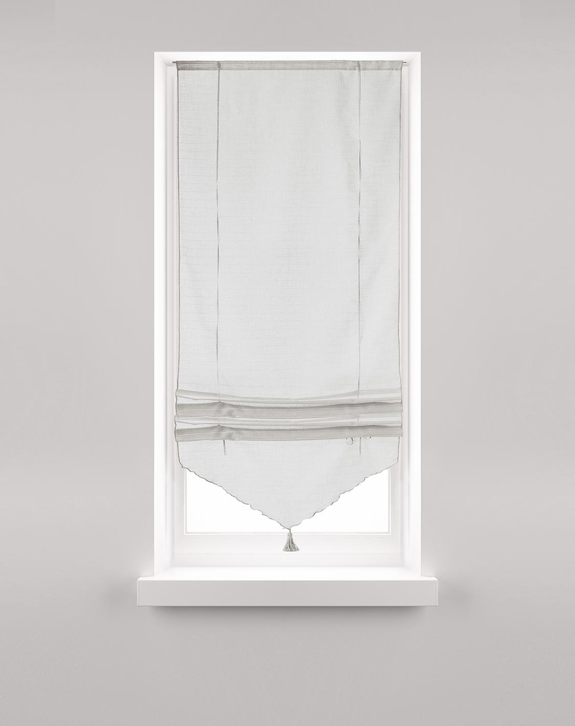 Store Relevable blanc avec Pompon (Blanc)