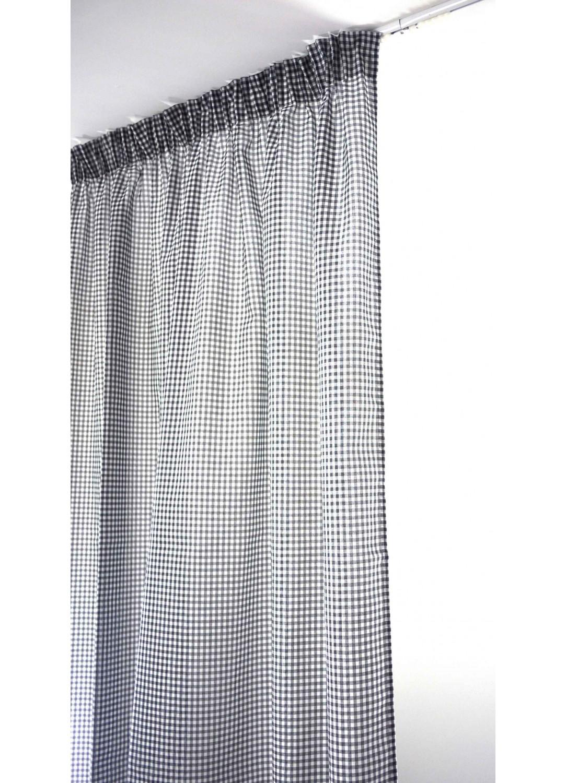 voilage vichy gris galon fronceur gris homemaison. Black Bedroom Furniture Sets. Home Design Ideas