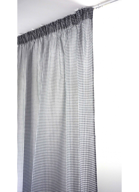 voilage vichy gris galon fronceur gris homemaison vente en ligne voilages. Black Bedroom Furniture Sets. Home Design Ideas